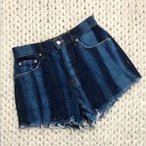 Derek Lam High Rise Cut Off Denim Jean Shorts